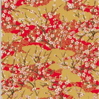 Japanese Chiyogami - Autumn Blooming Haze Gold Overlay