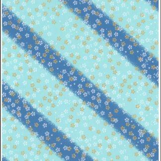 Japanese Chiyogami - Blue Blossom Disco Gold Overlay