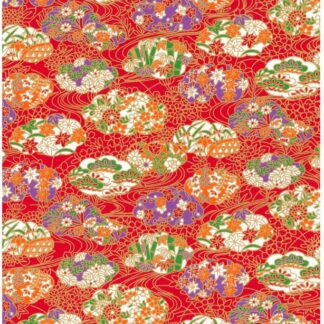 Japanese Chiyogami - Cloudy Nature Gold Overlay