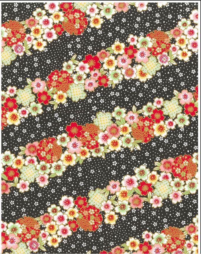 Japanese Chiyogami - Tiled Pink Petals Gold Overlay