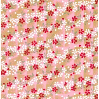 Japanese Chiyogami - Tiled Pink Blossom Gold Overlay